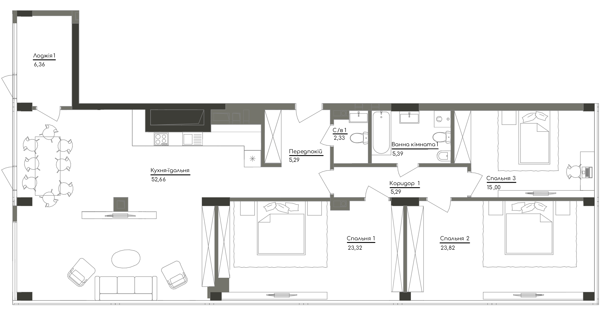 Квартира KV_80_3P_1_1_3
